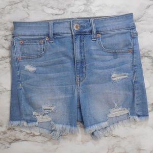 AEO   High Ride Distressed Midi denim shorts
